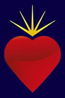 Flaming heart icon with light reflects and gradients.