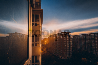 City Urban Apartment Buildings Residential District Sunset Sky Landscape Cityscape Asia Skyscrapers