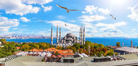 Sultan Ahmet or the Blue Mosque and the Bosphorus Straight in the background, Istanbul panorama