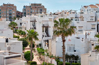 Cityscape of Torrevieja resort, modern white washed town houses, skyline urban scene, Torrevieja is Mediterranean town, popular travel destination. Costa Blanca. Province of Alicante. Spain