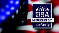 Congratulations on America's Independence Day, July 4 - the US national holiday on a flag background. Vector