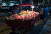 Street fruits market vendor at night in Chengdu
