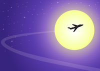 Plane flying on a moonlit night