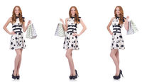 Beautiful woman with bags isolated on white