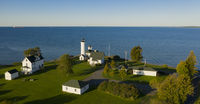 Aerial View Tibbetts Point Lighthouse Shores of  Lake Ontario in New York State