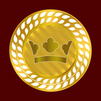 Gold crown seal. Quality label premium background.