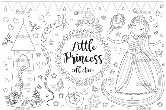 Cute little princess Rapunzel set Coloring book page for kids. Collection of design element sketch outline, doodle style. Kids baby clip art funny smiling kit. Vector illustration
