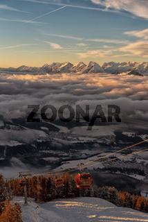 Snowy Austrian Mountain Range Ski Lift Copy Space Resort Landscape Clouds Snow Caps