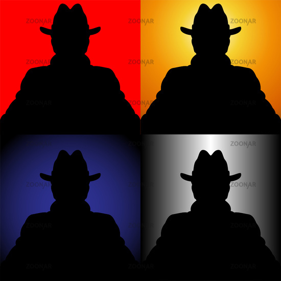 Set of silhouettes of the unknown in a hat