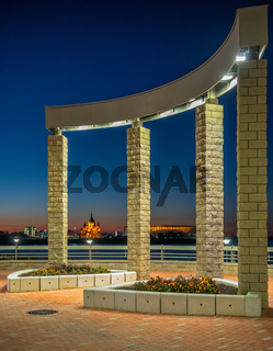 Architectural composition on the river embankment in Nizhny Novgorod, Russia