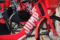 Electric Bike sharing bicycle, JUMP by UBER on sidewalk