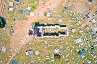 Historic church of Holy Salvation ruins and historic graveyard  in Cetina aerial view