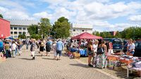 Visitors on a popular flea market in downtown Magdeburg on a Sunday