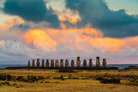 View of the ancient Moai of Ahu Tongariki on Easter Island