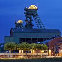 Illuminated Westphalia closed coal mine with event location, Ahlen, North Rhine-Westphalia, Germany