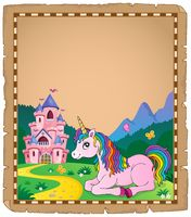 Parchment with lying unicorn theme 3