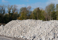 Gravel pile after a building demolition on a building site