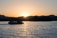 hangzhou west lake in sunset