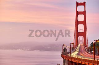 Golden Gate Bridge view at sunrise, San Francisco