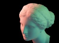 Gypsum copy of ancient statue Venus head isolated on a black background. Plaster sculpture woman face. Green toned.