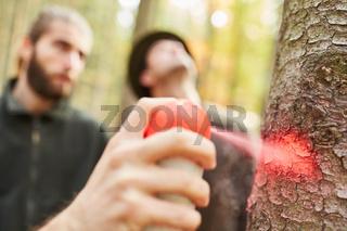 Hand mit Sprühdose markiert einen Baum