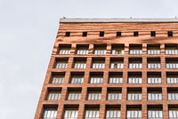 Low angle view of rationalist brick building in Madrid