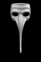 Mask with long nose is isolated on black