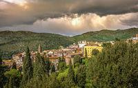 italian town of Tivoli near Rome with dramatic stormy sky