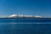 Yellowstone Lake with mountains landscape