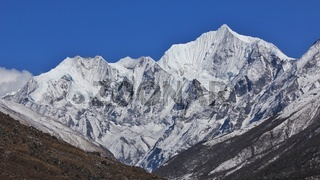 Spring day in the Himalayas. Mount Gangchenpo, Langtang valley, Nepal.