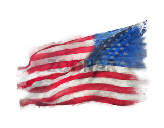Flag of America watercolor