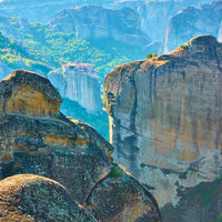 Rocks and Monastery in Meteora,