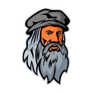 Leonardo da Vinci Head Mascot