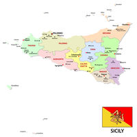 sicily administrative and political map with flag
