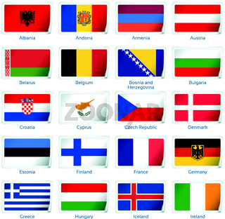 Set of twenty flags in sticker style. Europe one of three.