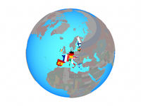 Eurozone member states with flags on globe isolated