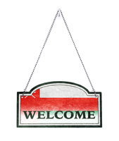 Oman welcomes you! Old metal sign isolated