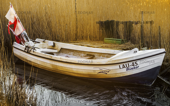The boat behind the reed at Lebbiner Bodden