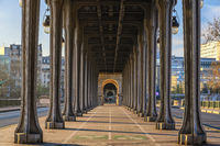 Paris France city skyline at Pont de Bir-Hakeim bridge