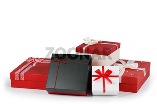 Boxes with gifts on white