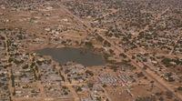 Aerial view to NDjamena and Chari or Chari river, Chad
