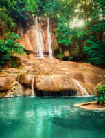 Beautiful waterfall Sai Yok Noi at national park, Thailand