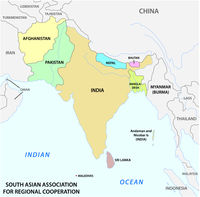 South Asian Association for Regional Cooperation (SAARC) vector map