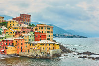 Houses by the sea in Boccadasse in Genoa