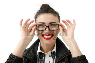 Portrait of happy smiling young cheerful businesswoman in glasses, isolated over white background