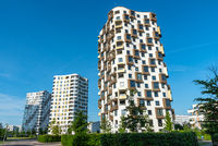 Modern high-rise apartment buildings seen in Munich, Germany