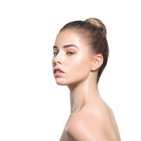 Beauty portrait of young woman face isolated over white background