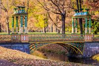Bridges city autumn park. Golden autumn . Autumn in the park. Yellow foliage.