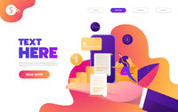 Business mobile application vector isometric illustrations