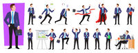 Set of character businessman employee with suitcase in different situations poses, vector